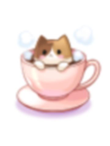 의상 삼색 고양이 커피잔 이미지